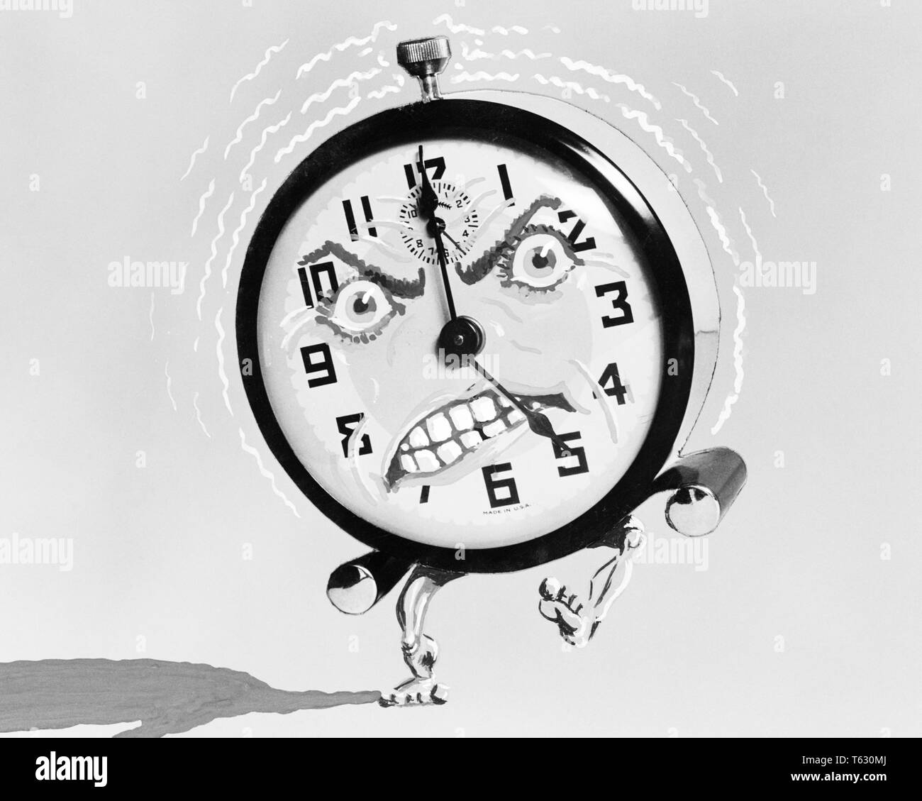 1930s 1940s ILLUSTRATION OF ALARM CLOCK WITH ANGRY FACE KICKING AND RINGING AT 5 AM IN THE MORNING - s7989 HAR001 HARS ANNOYING AWAKEN CONCEPTUAL HUMANIZED STILL LIFE ALERT AM DAWN NOISY ANGRILY GET UP O'CLOCK SYMBOLIC CONCEPTS ANTHROPOMORPHIC BLACK AND WHITE HAR001 OLD FASHIONED REPRESENTATION - Stock Image