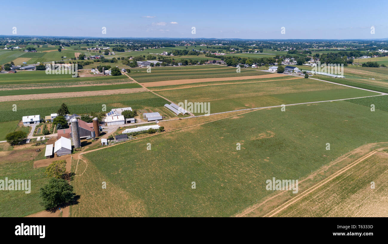 Aerial View of Amish Farm Lands and Countryside on a Sunny Day - Stock Image