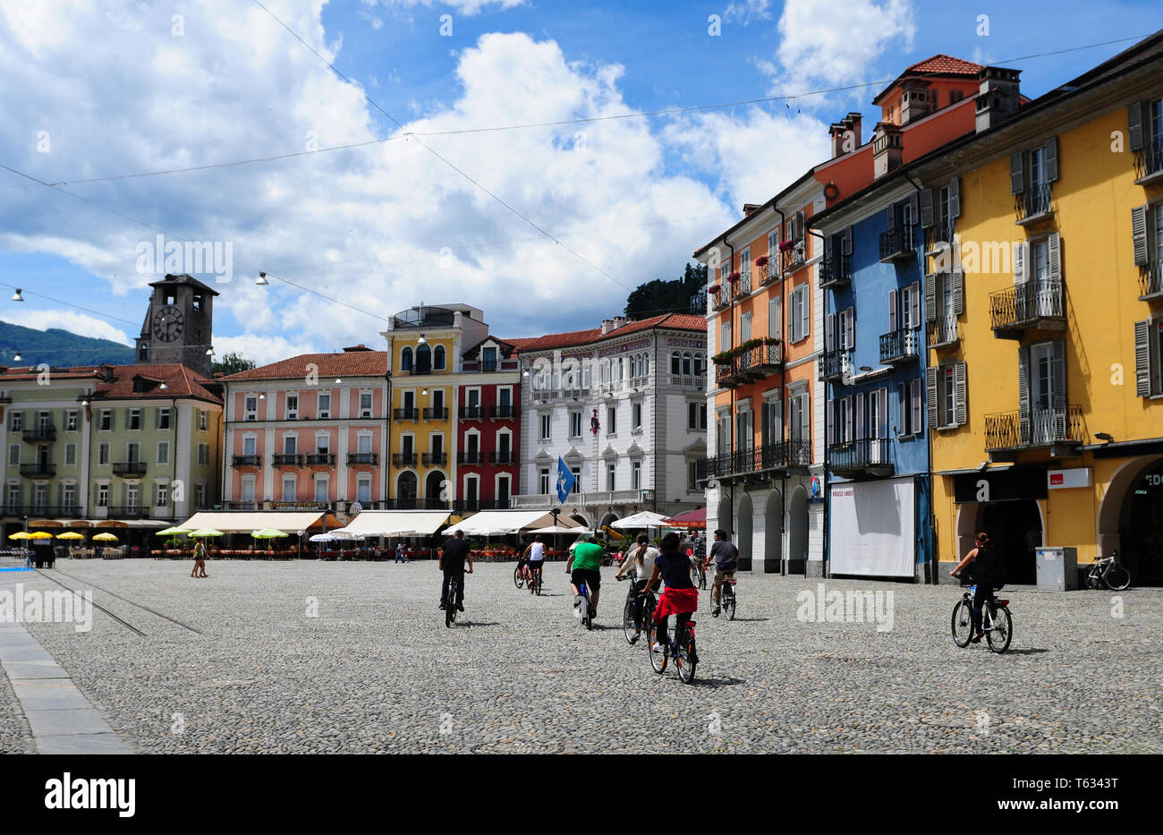 South Switzerland:  Biker's on the Piazza Grande at Locarno where the film-festival takes place - Stock Image
