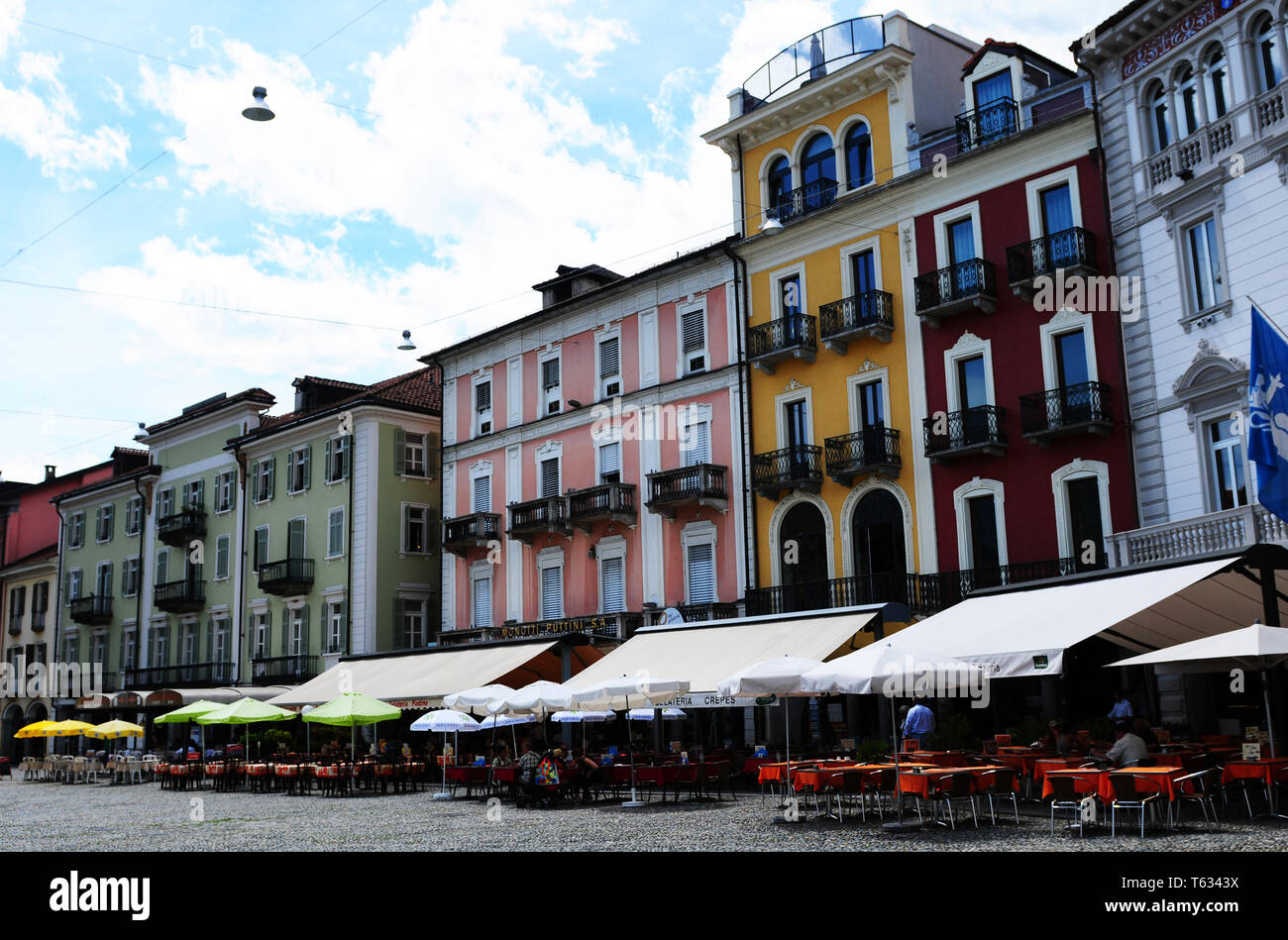 South Switzerland: The Piazza Grande at Locarno where the film-festival takes place - Stock Image