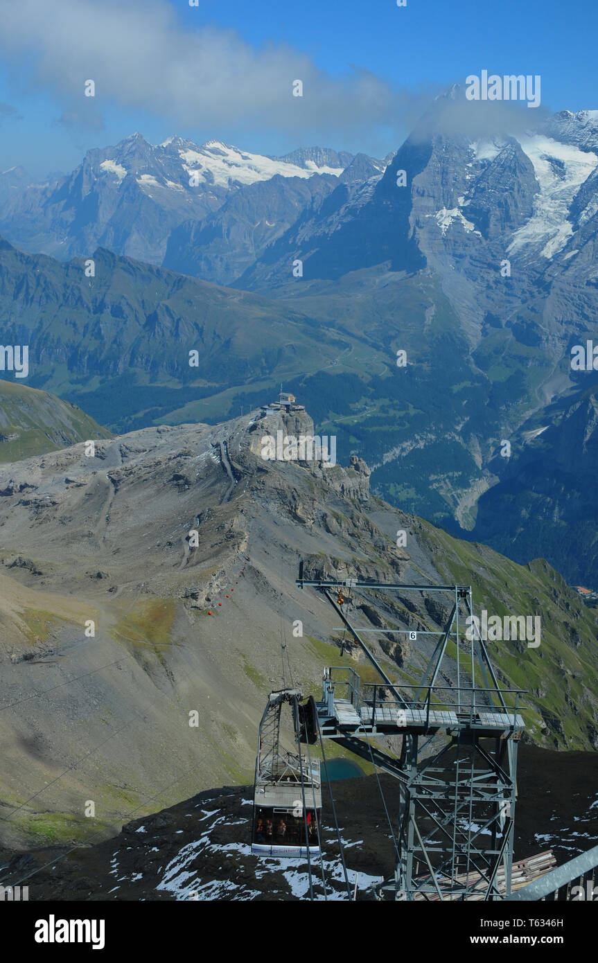 Swiss alps: The Schilthorn cable car is famous from the James Bond Movie - Stock Image