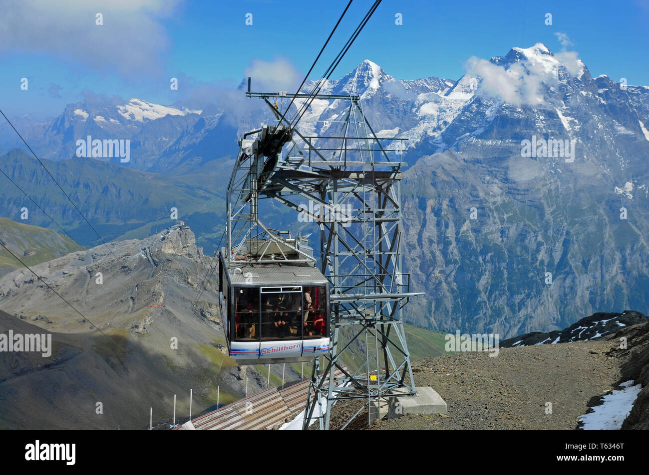The Schilthorn cable car is famous from the James Bond Movie - Stock Image