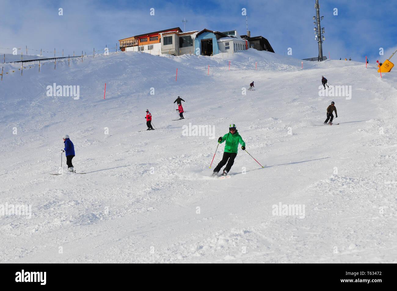 Swiss alps: Winter sport region Weissfluhjoch at Davos city - Stock Image