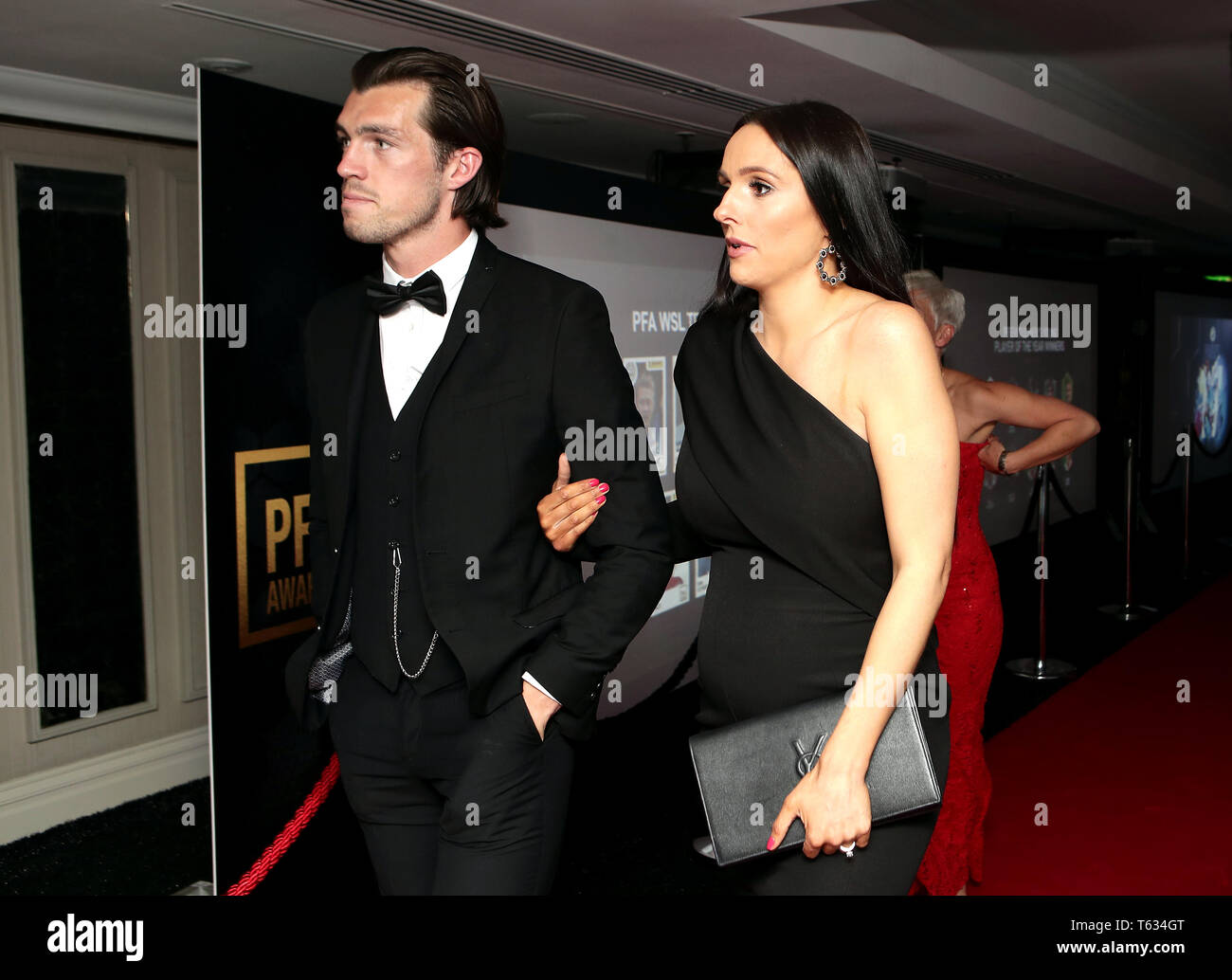 Guests arrive ahead of the 2019 PFA Awards at the Grosvenor House Hotel, London. - Stock Image