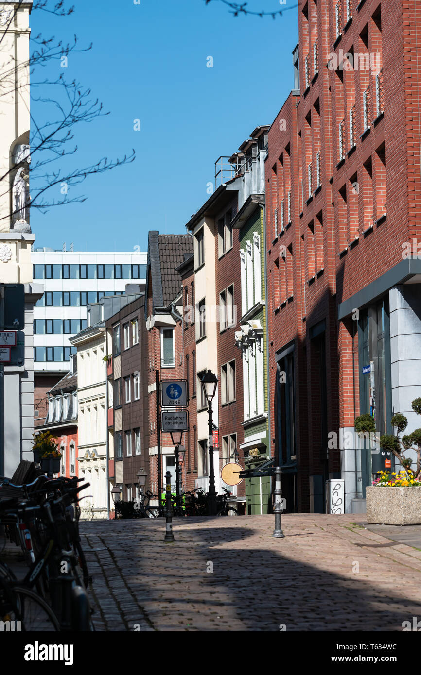 Downtown aachen alley and shopping district - Stock Image