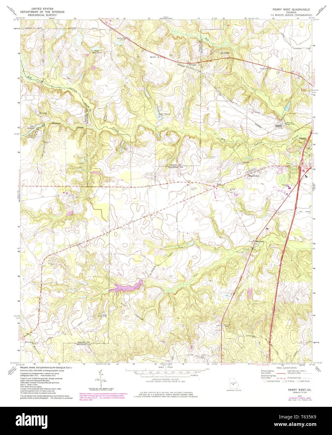 Map Of Georgia 75.Usgs Topo Map Georgia Ga Perry West 246638 1972 24000 Restoration