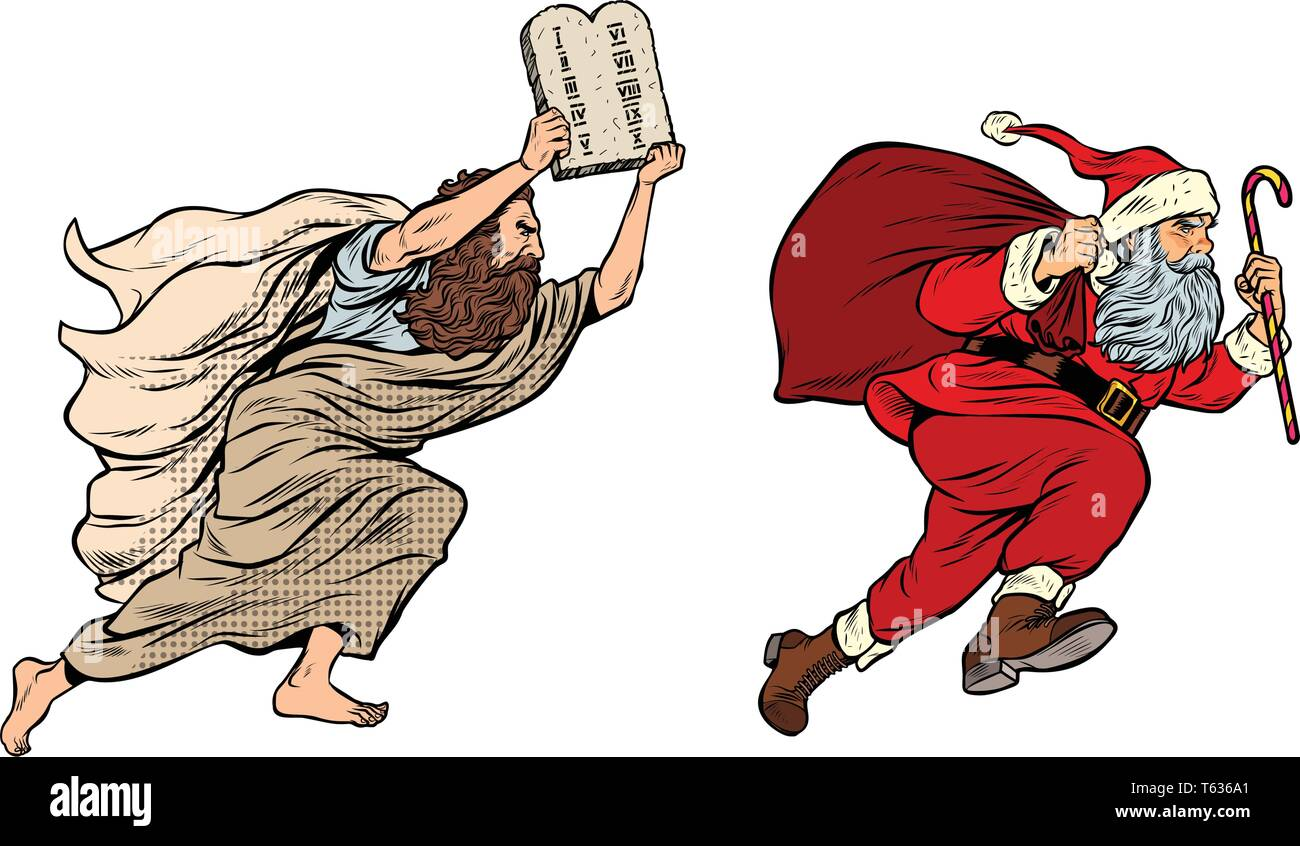 Moses and Santa Claus. Dispute old and new. Tradition versus secular - Stock Vector