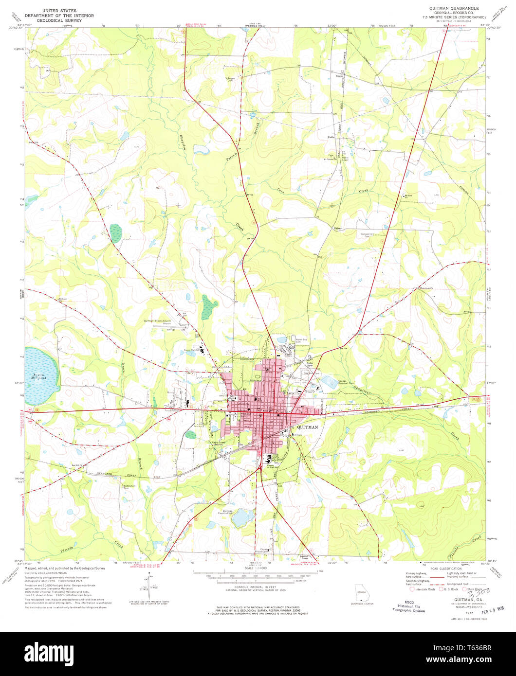 Map Of Quitman Ga.Usgs Topo Map Georgia Ga Quitman 246688 1977 24000 Restoration Stock