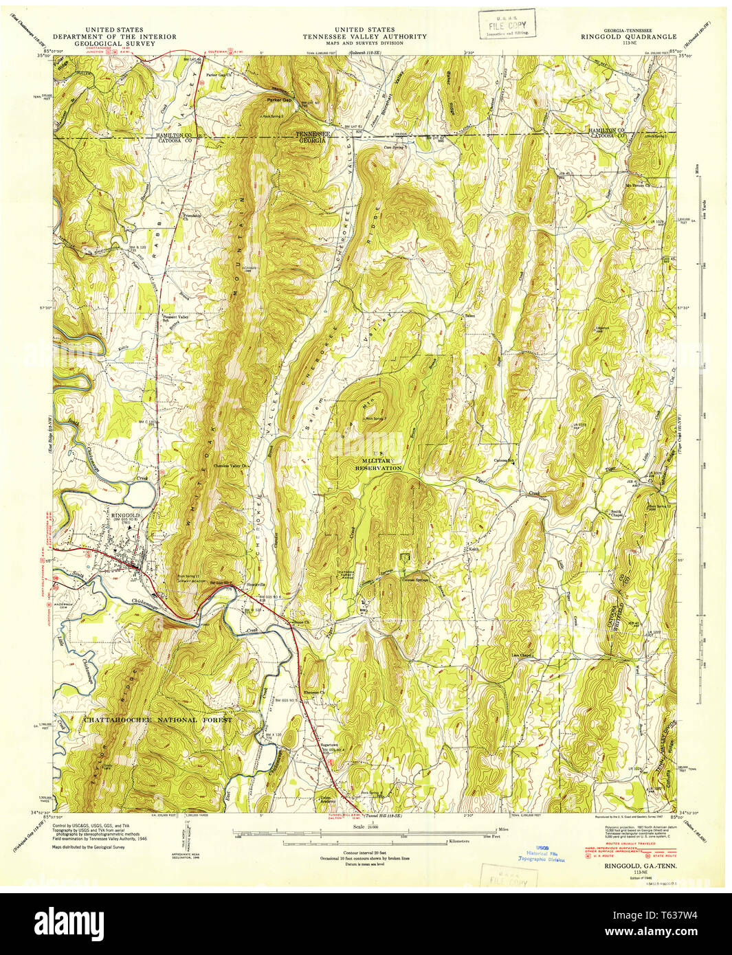 Show A Map Of Georgia.Usgs Topo Map Georgia Ga Ringgold 246777 1946 24000 Restoration