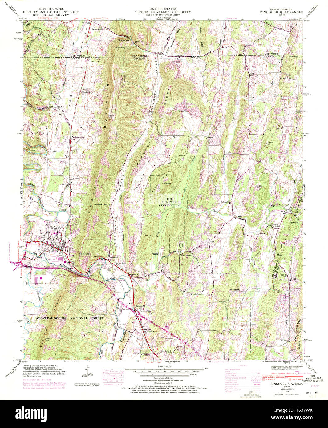 Geologic Map Of Georgia.Usgs Topo Map Georgia Ga Ringgold 246778 1946 24000 Restoration