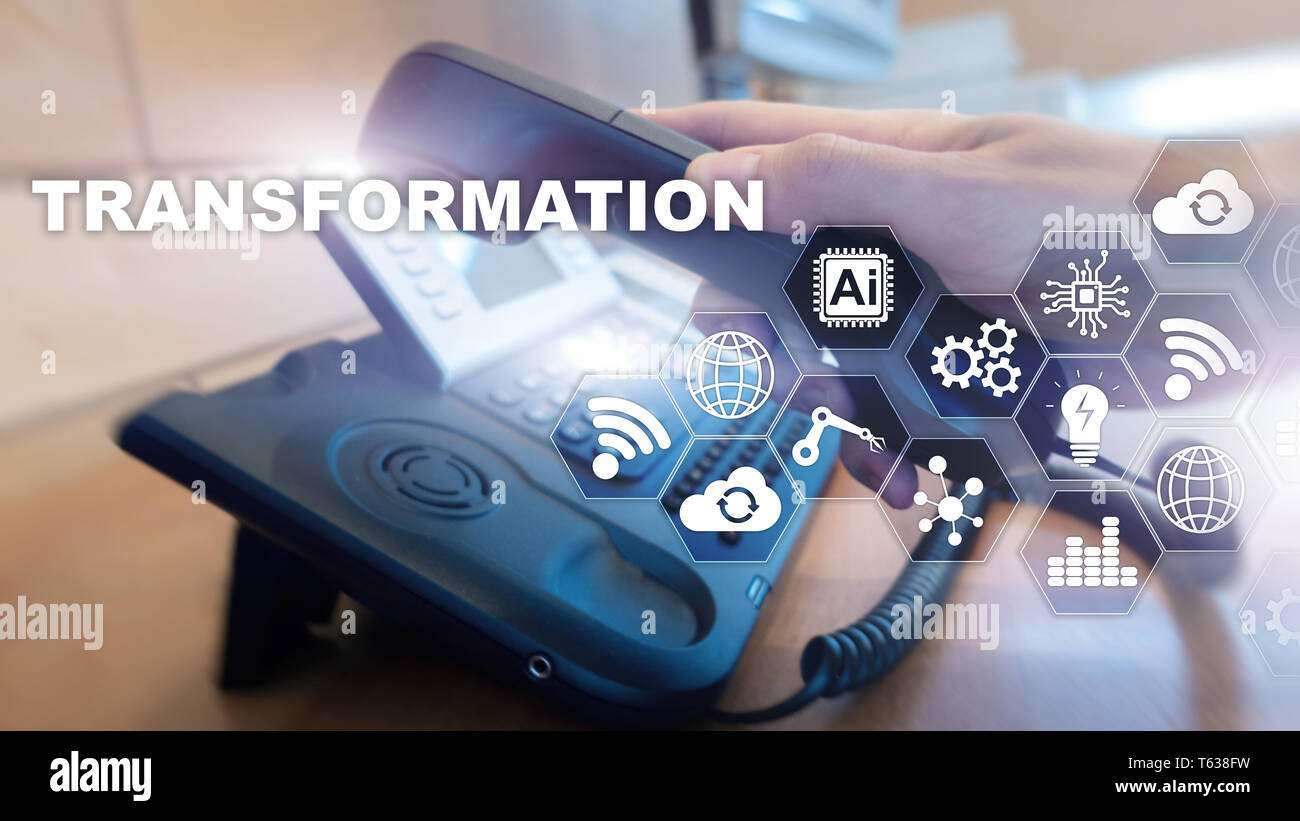 Business Transformation. Future and Innovation Internet and network concept. Abstract business background. Mixed Media. - Stock Image