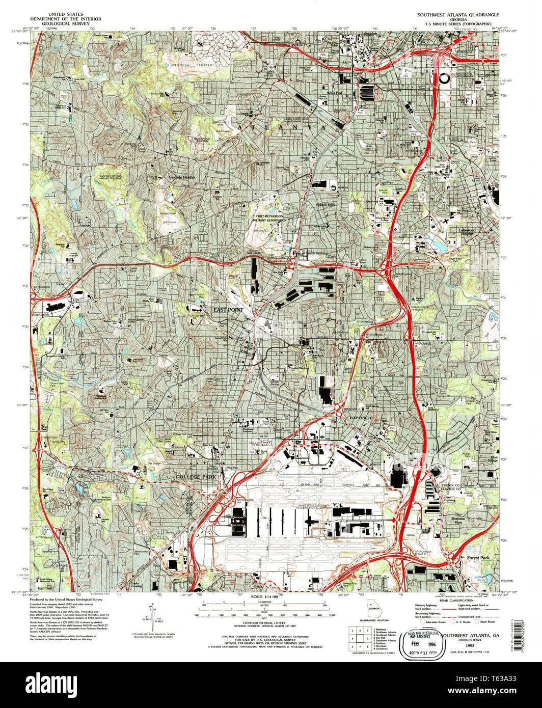 Map Of Southwest Georgia.Usgs Topo Map Georgia Ga Southwest Atlanta 246968 1993 24000