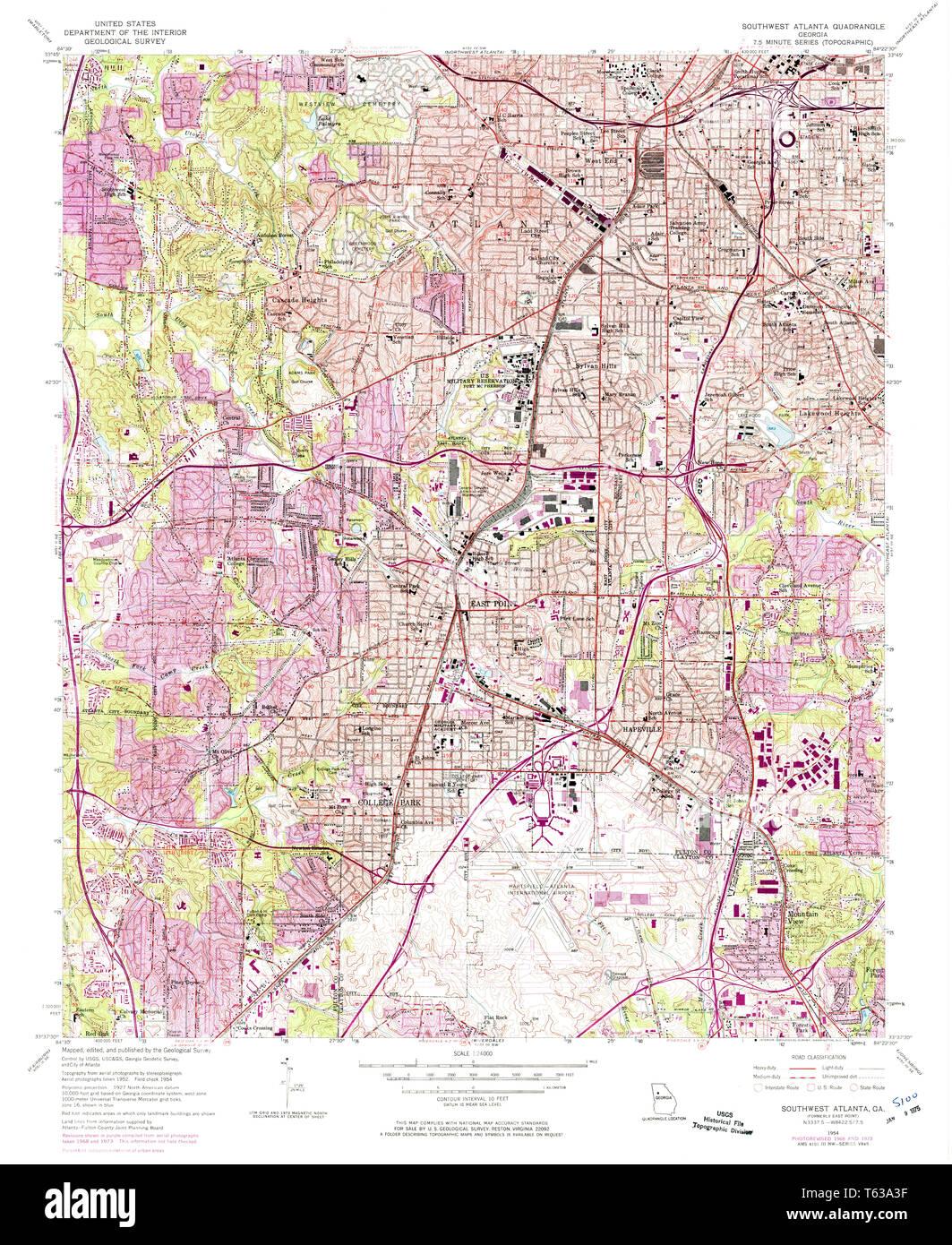 Map Of Southwest Georgia.Usgs Topo Map Georgia Ga Southwest Atlanta 246972 1954 24000
