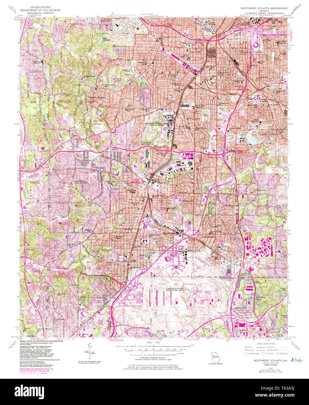Map Of Southwest Georgia.Usgs Topo Map Georgia Ga Southwest Atlanta 246974 1954 24000