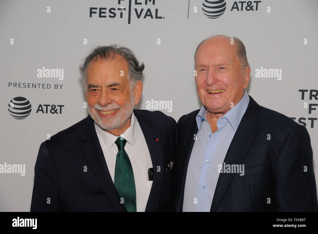 "NEW YORK, NY - APRIL 28: Francis Ford Coppola and Robert Duvall attend ""Apocalypse Now"" - 40 Years And Restoration during the 2019 Tribeca Film Festiv Stock Photo"