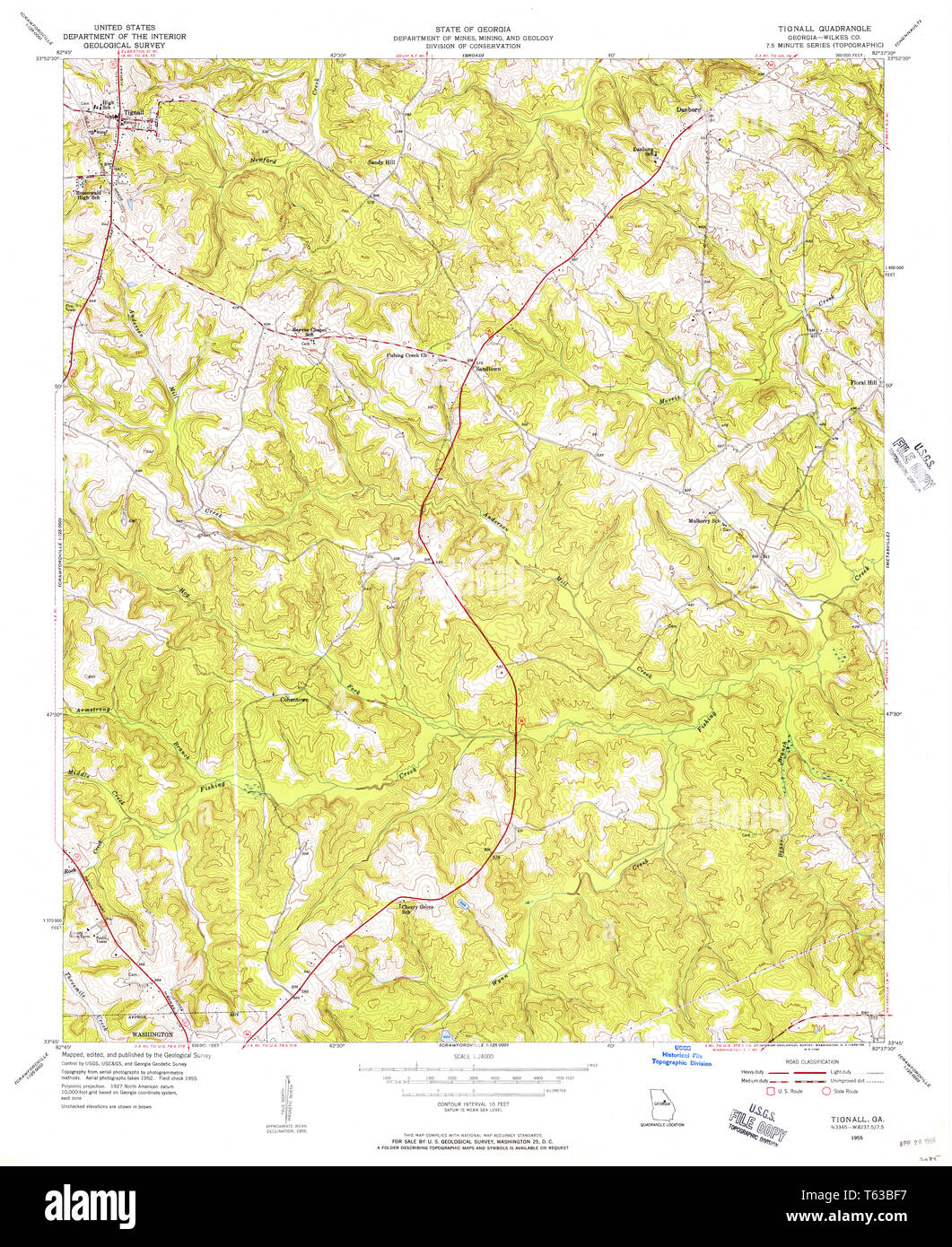 Geologic Map Of Georgia.Usgs Topo Map Georgia Ga Tignall 247148 1955 24000 Restoration Stock