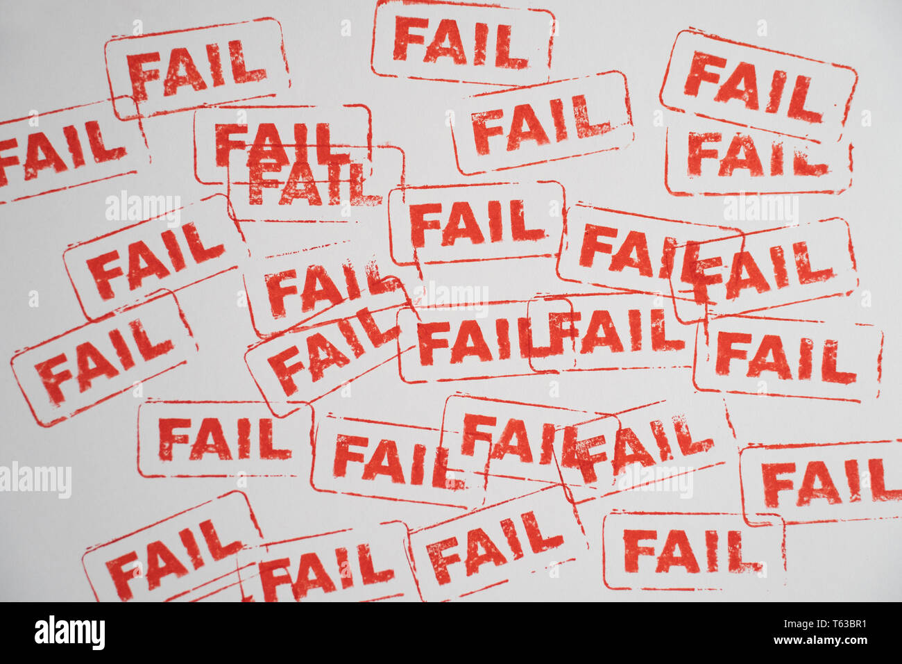 fail word stamp on white paper - Stock Image