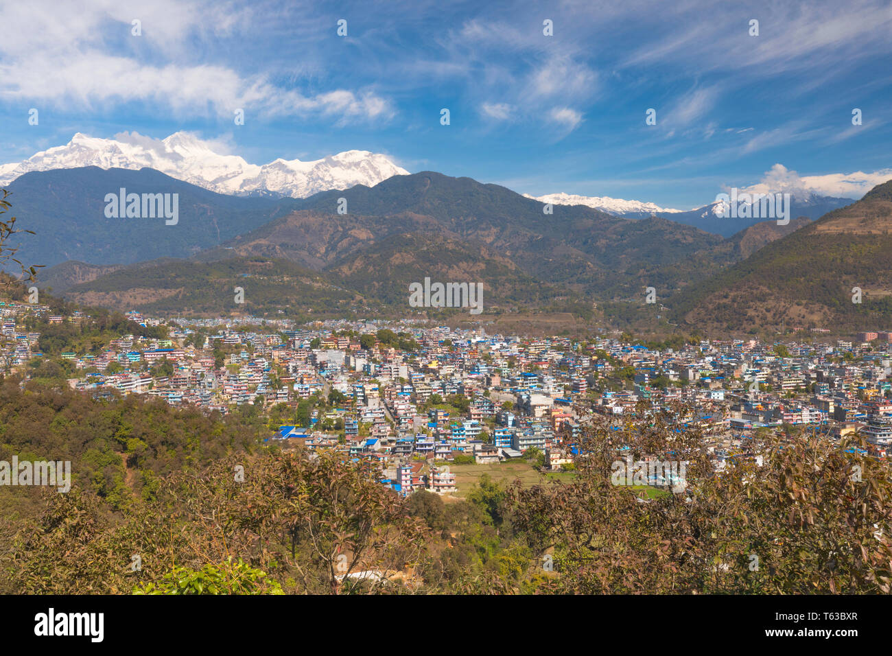 Pokhara Valley,Pokhara is famous Travel destination in Nepal - Stock Image