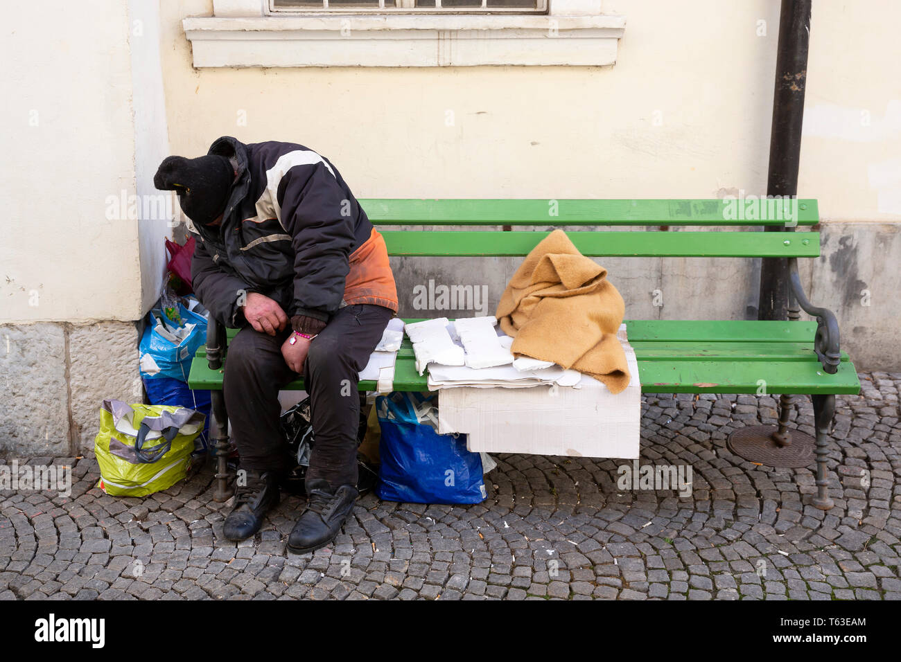 black homeless man sleeping on stock photos black homeless man rh alamy com