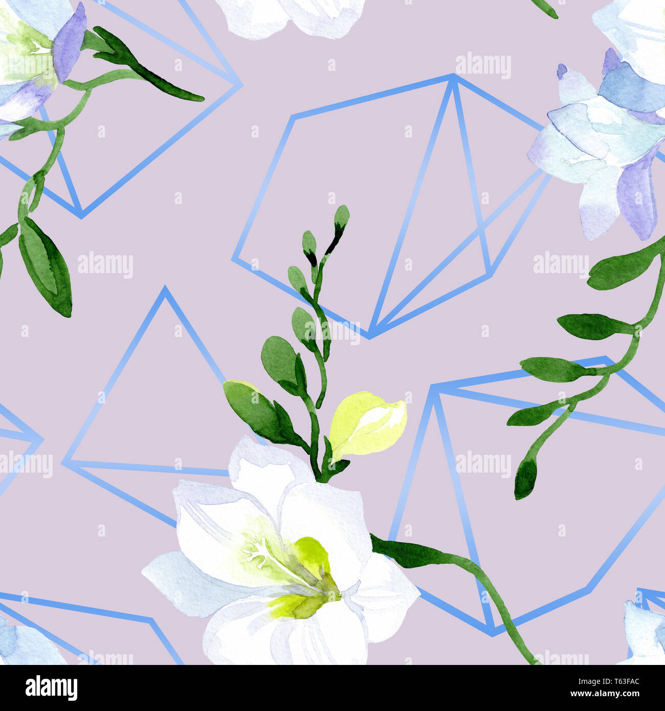 9a264bd23 White freesia floral botanical flowers. Watercolor background illustration  set. Seamless background pattern. -