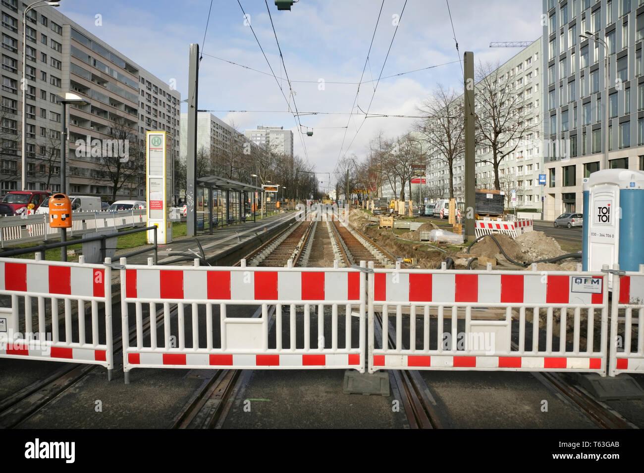 Tram lines being renewed in Greifswalder Strasse, Berlin, Germany, - Stock Image