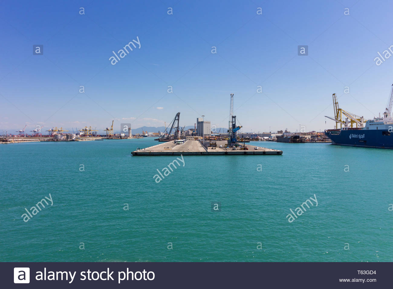 Pisa, Italy - May, 17, 2017: Looking towards Marina di Pisa from a cruise ship deck. - Stock Image