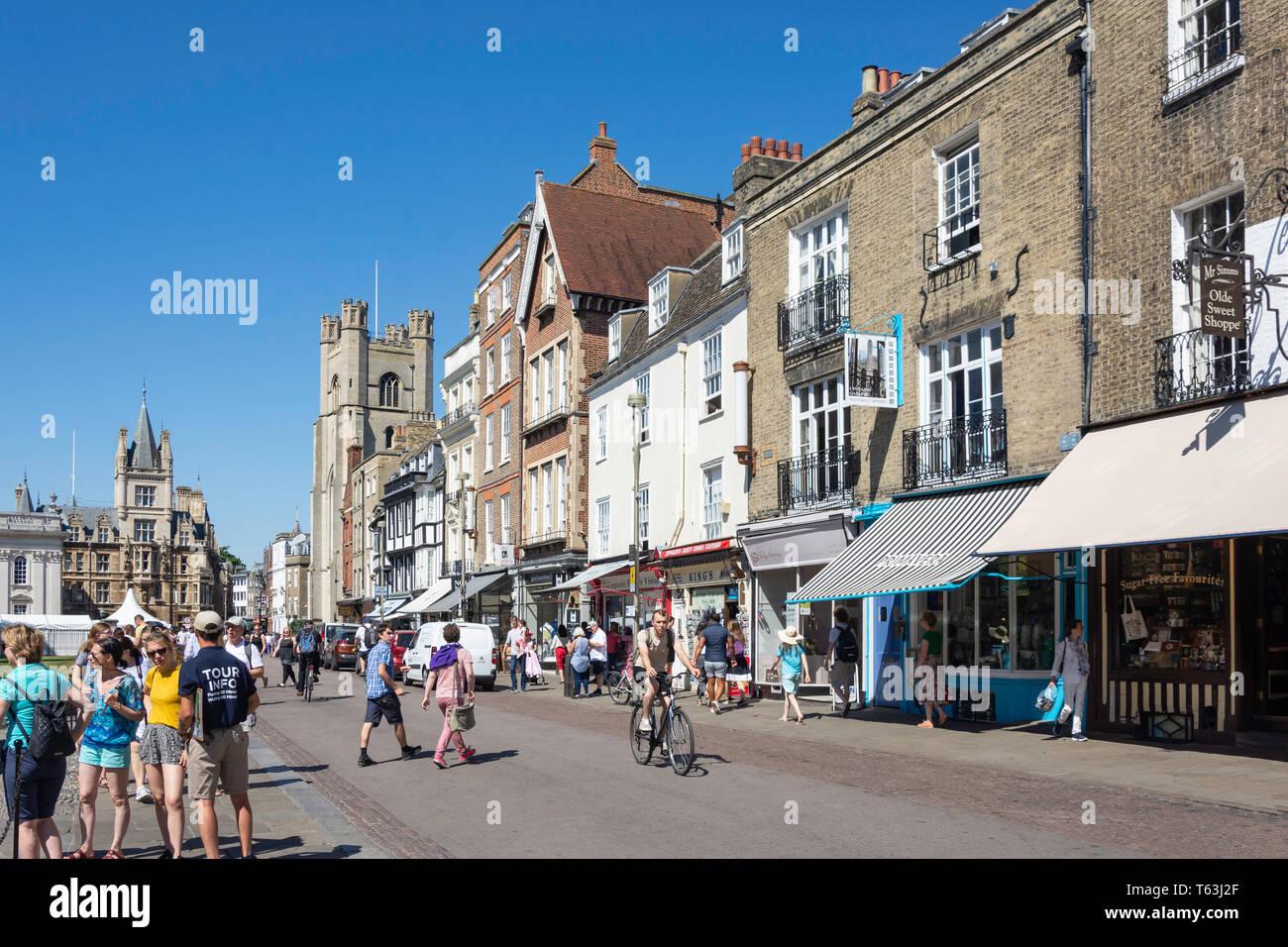 King's Parade showing Great St Mary's Church, Cambridge, Cambridgeshire, England, United Kingdom - Stock Image