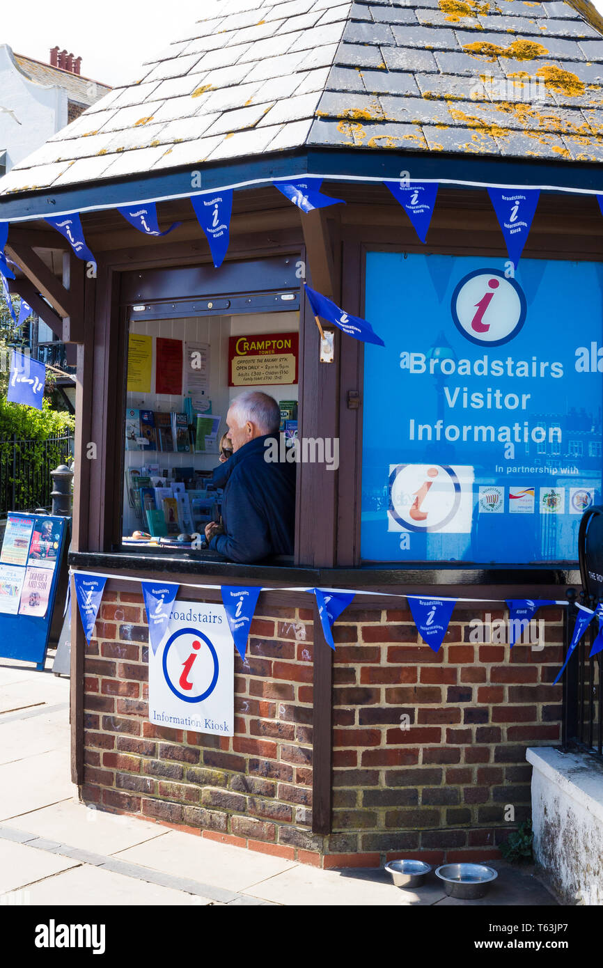 Broadstairs, Kent, UK. Two visitor information colleges sit in a visitor information booth. - Stock Image