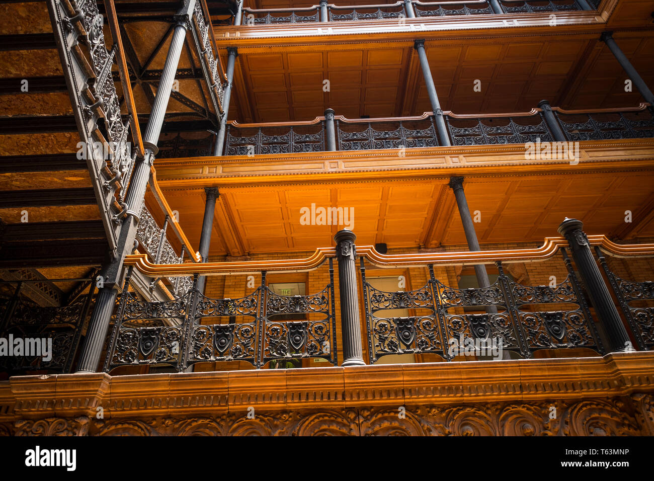 Inside iconic Bradbury Building, part of Blade Runner movie locations, in Downtown Los Angeles, California, USA - Stock Image