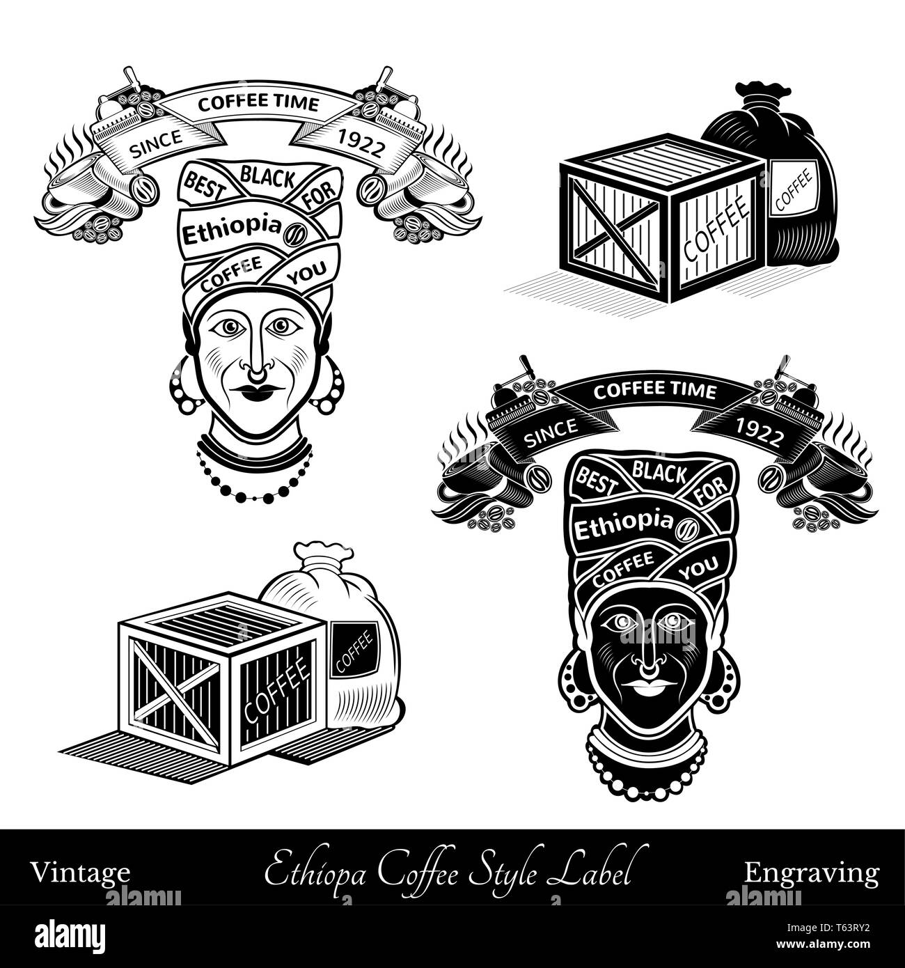 cup and coffee mill under the ribbon template for text. black woman with turban best ethiopia coffee lettering. Coffee style silhouette black and whit - Stock Image
