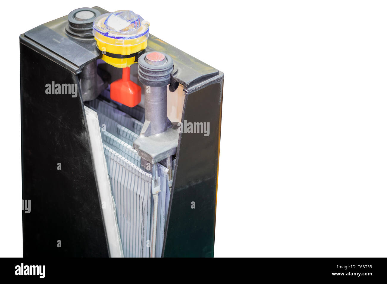 cross section of Industial battery for forklift / vehecle / automotive  ; white blackground Stock Photo
