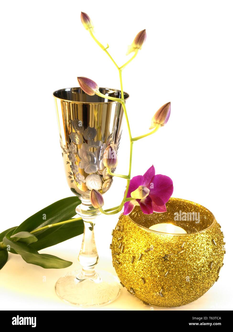 Chalice with orchid - Stock Image