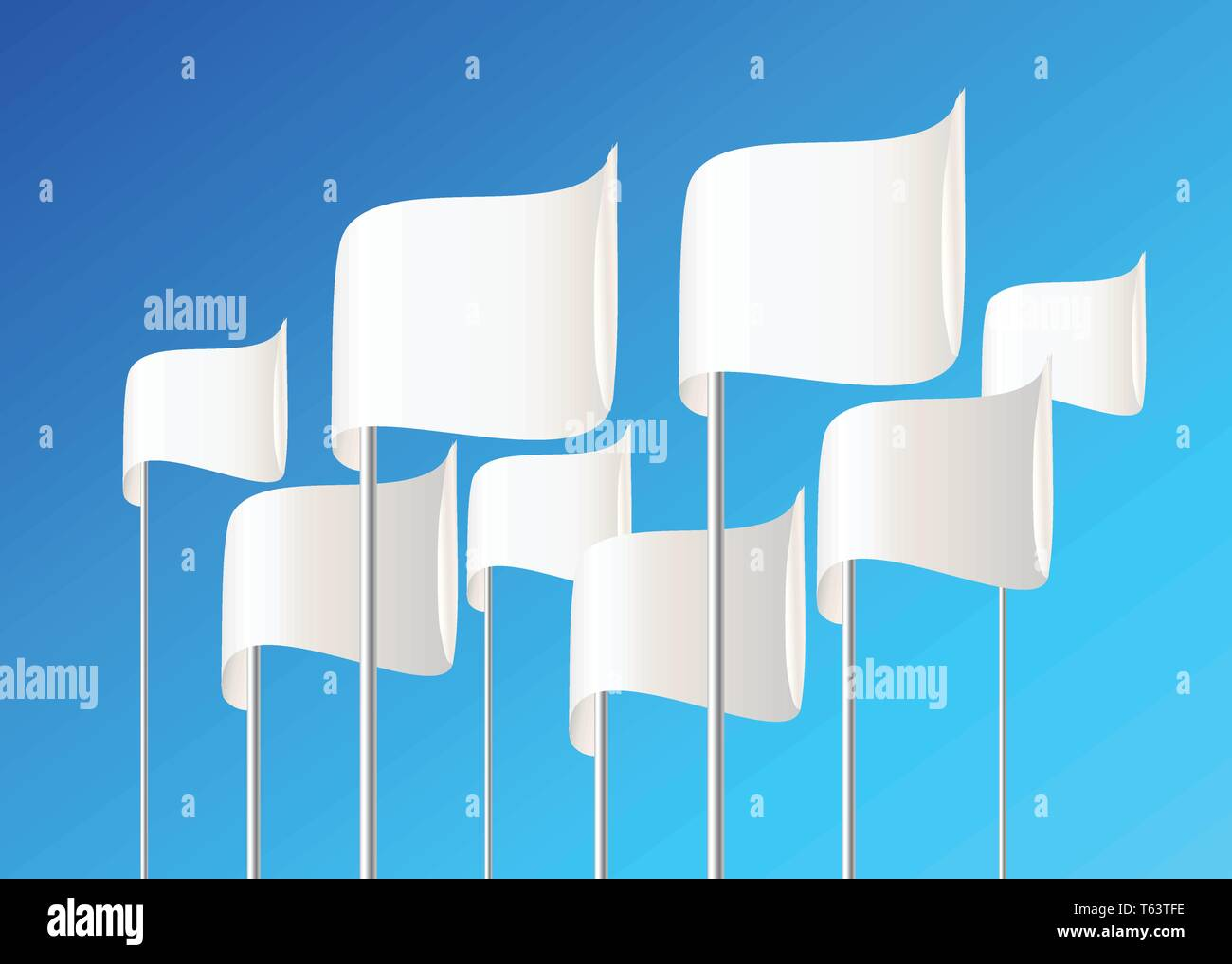 White vector flags on blue background. - Stock Vector