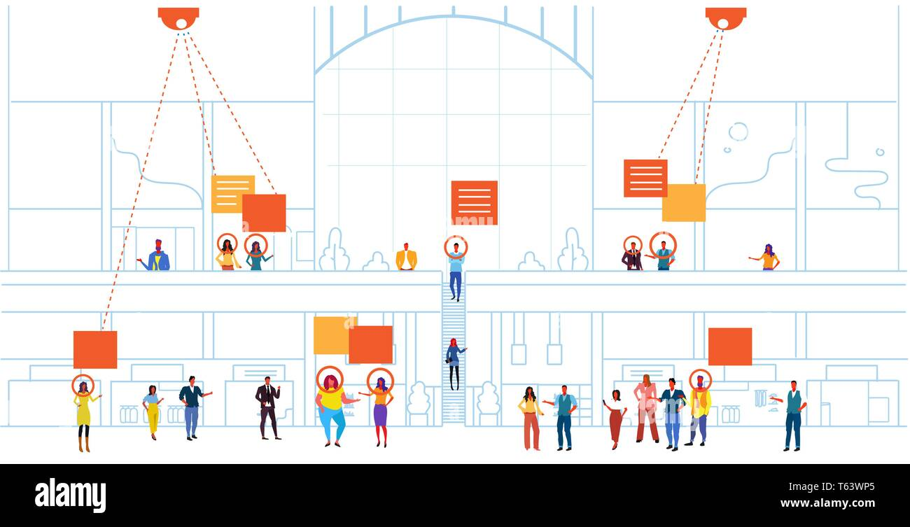 retail store visitors identification facial recognition concept modern shopping mall interior security camera surveillance cctv system horizontal Stock Vector