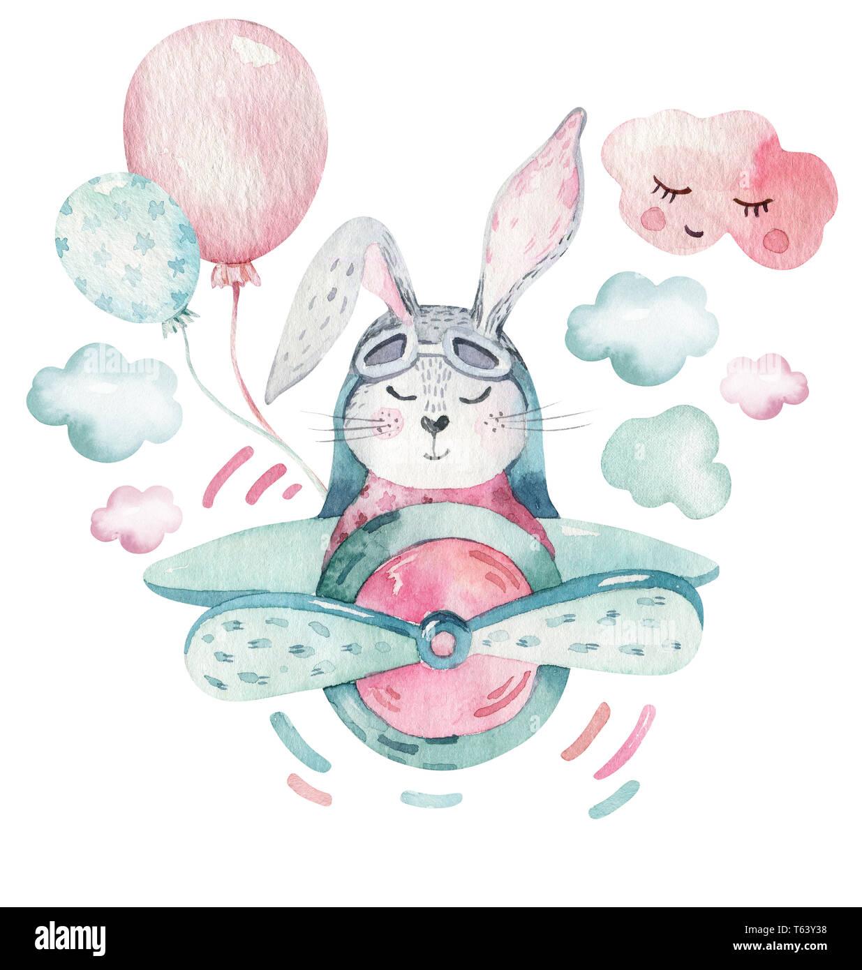 Hand Drawing Fly Cute Easter Pilot Bunny Watercolor Cartoon