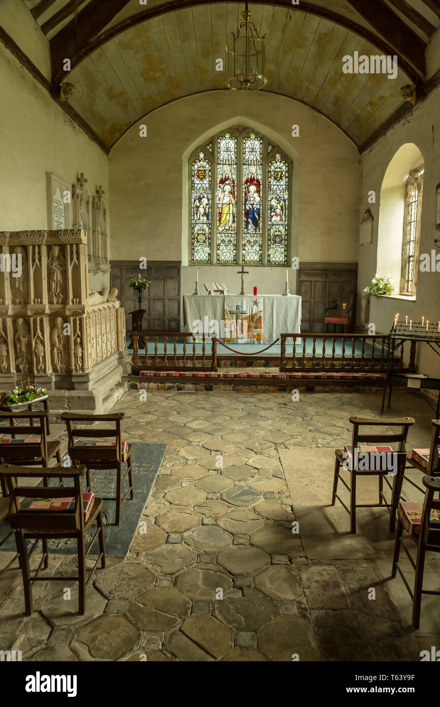 Interior of the 13th century chapel at Croft Castle in Yarpole, Herefordshire, England. - Stock Image