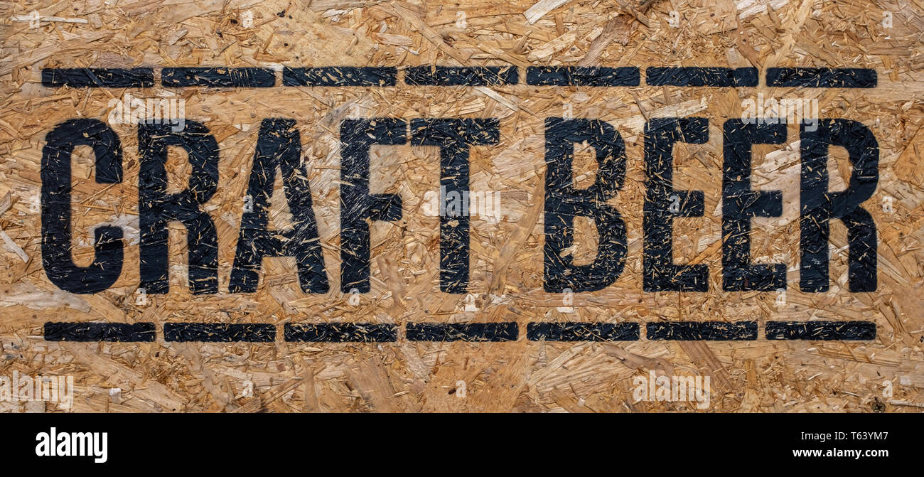 A Rustic Sign For Craft Beer Outside A Pub Or Bar Or Restaurant Stock Photo