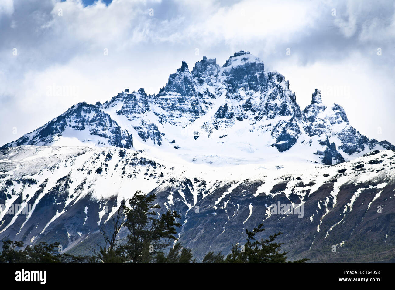 The rugged mountainous ridge of Cerro castillo ,Aysen,Chile. - Stock Image