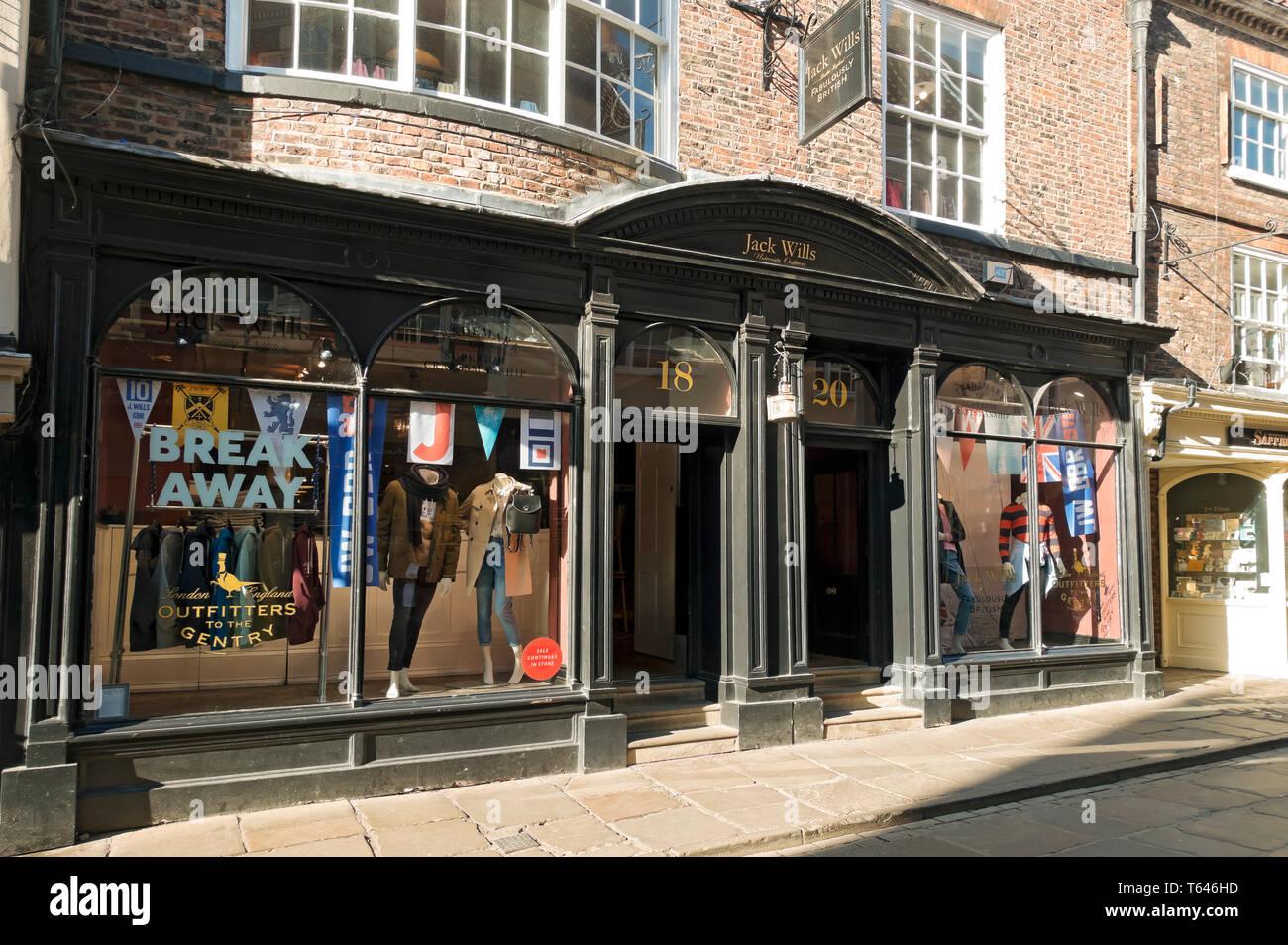 Jack Wills clothing shop store Stonegate York North Yorkshire England UK United Kingdom GB Great Britain Stock Photo