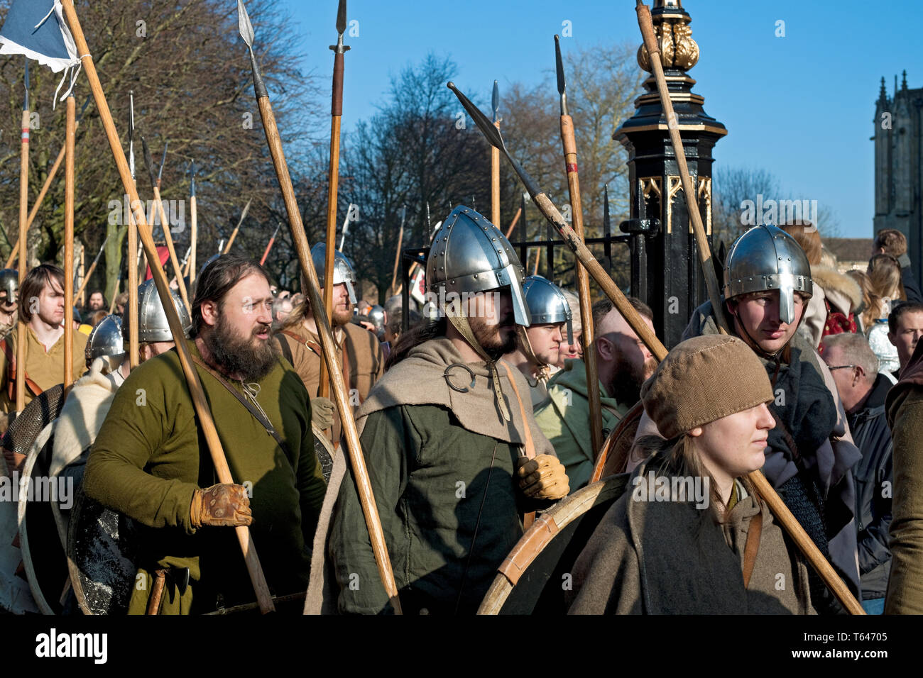 Vikings and Anglo Saxons marching at the Viking Festival York North Yorkshire England UK United Kingdom GB Great Britain - Stock Image