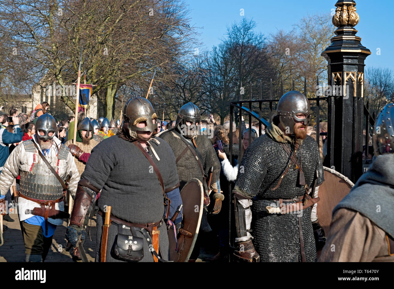Vikings and Anglo Saxons marching at the Viking Festival York North Yorkshire England UK United Kingdom GB Great Britain Stock Photo