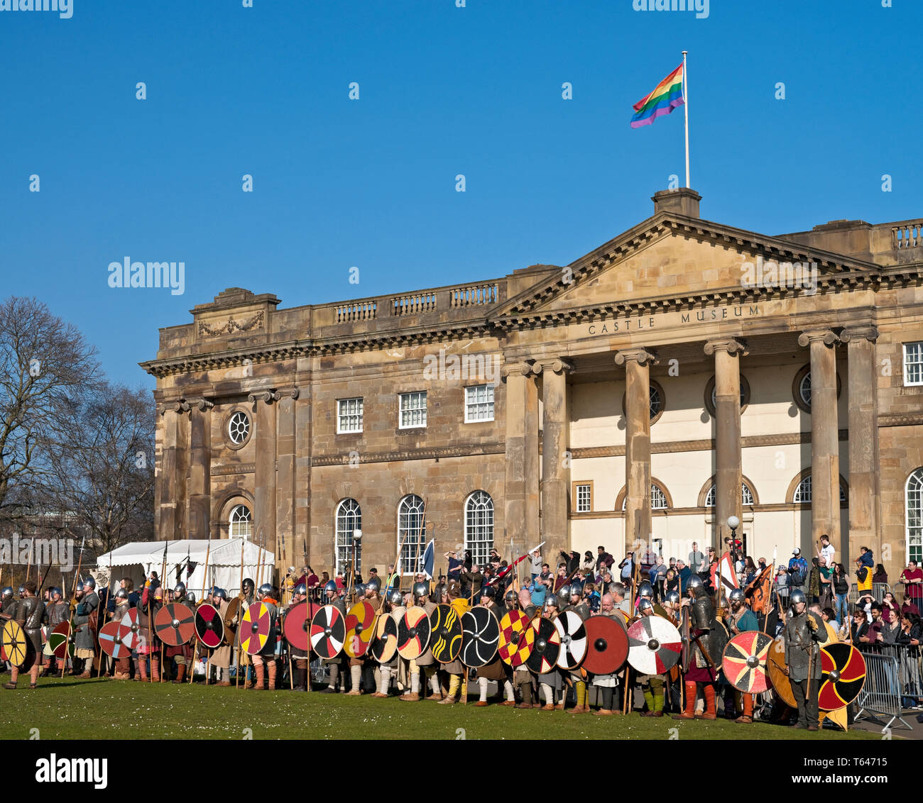 Vikings and Anglo Saxons outside the Castle Museum at the Viking Festival York North Yorkshire England UK United Kingdom GB Great Britain Stock Photo