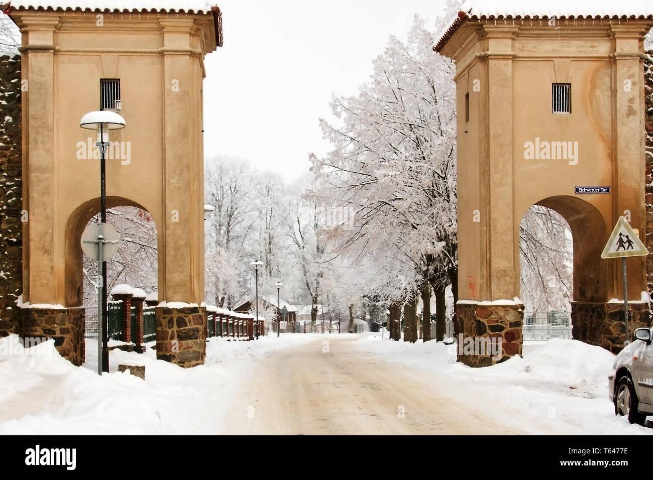 winterly Uckermark, a Region in northeast Germany, Brandenburg - Stock Image