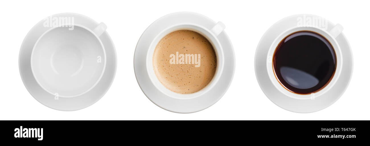 three various coffee cups top view set isolated on white - Stock Image