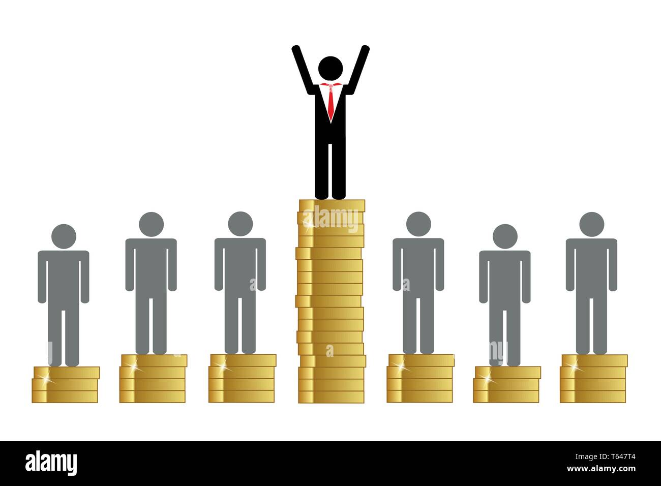 gap between rich and poor finance pictogram with coins vector illustration EPS10 - Stock Image
