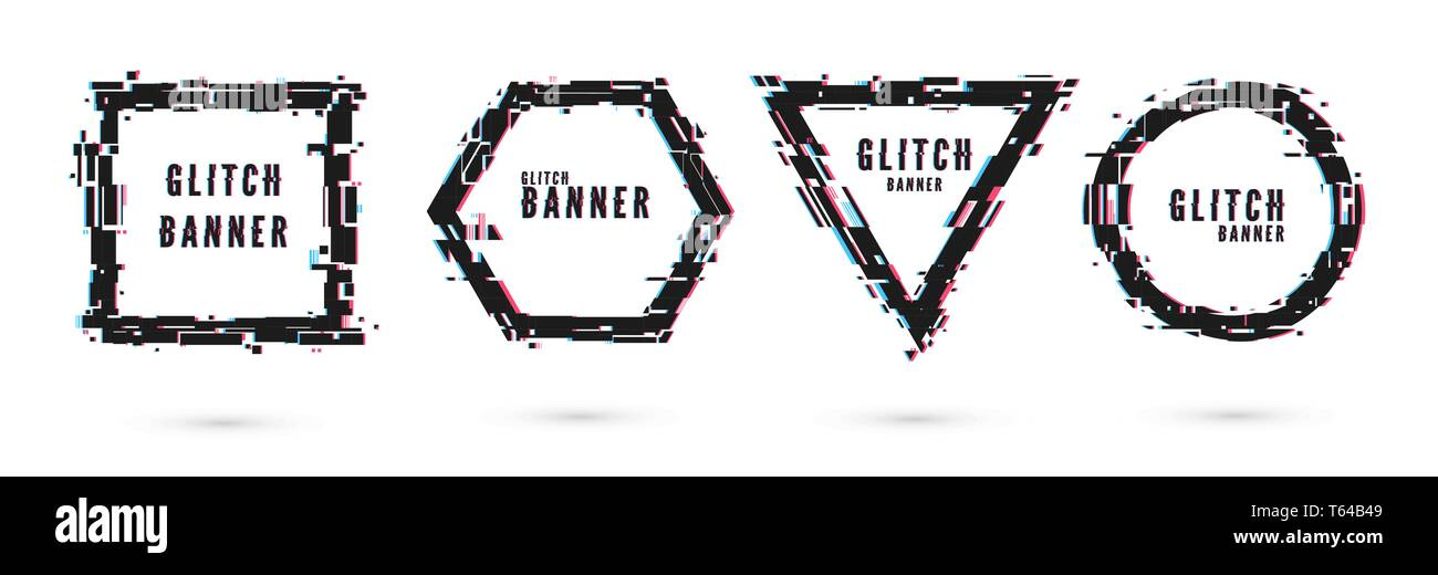 Set of banners geometrical shapes with glitch effect. Frame distortion. Vector illustration isolated on white background - Stock Image