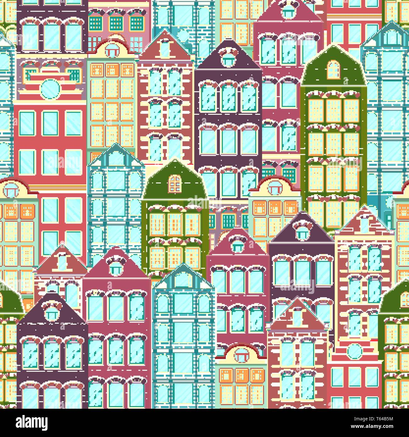 Colorful houses seamless pattern, city background, urban landscape. Multicolored bright European brick house, flat drawing, architecture ornament, vec - Stock Vector
