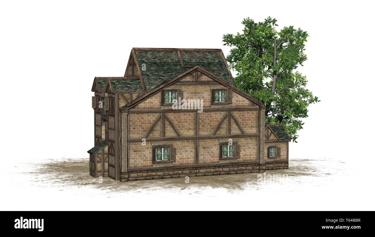 medieval warehouse on a sand area and tree -  isolated on white background - 3D illustration Stock Photo