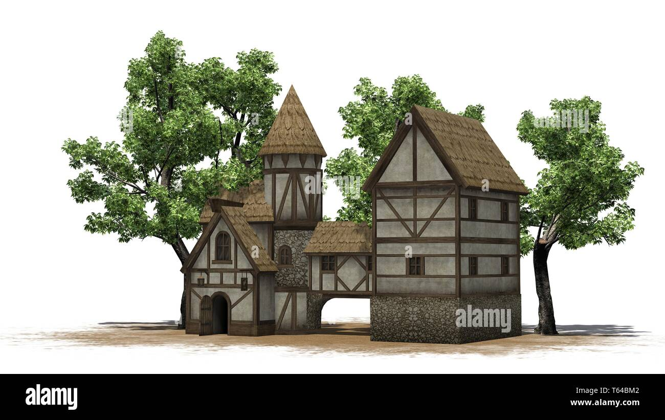 medieval taverne between trees on sand area - isolated on white background Stock Photo