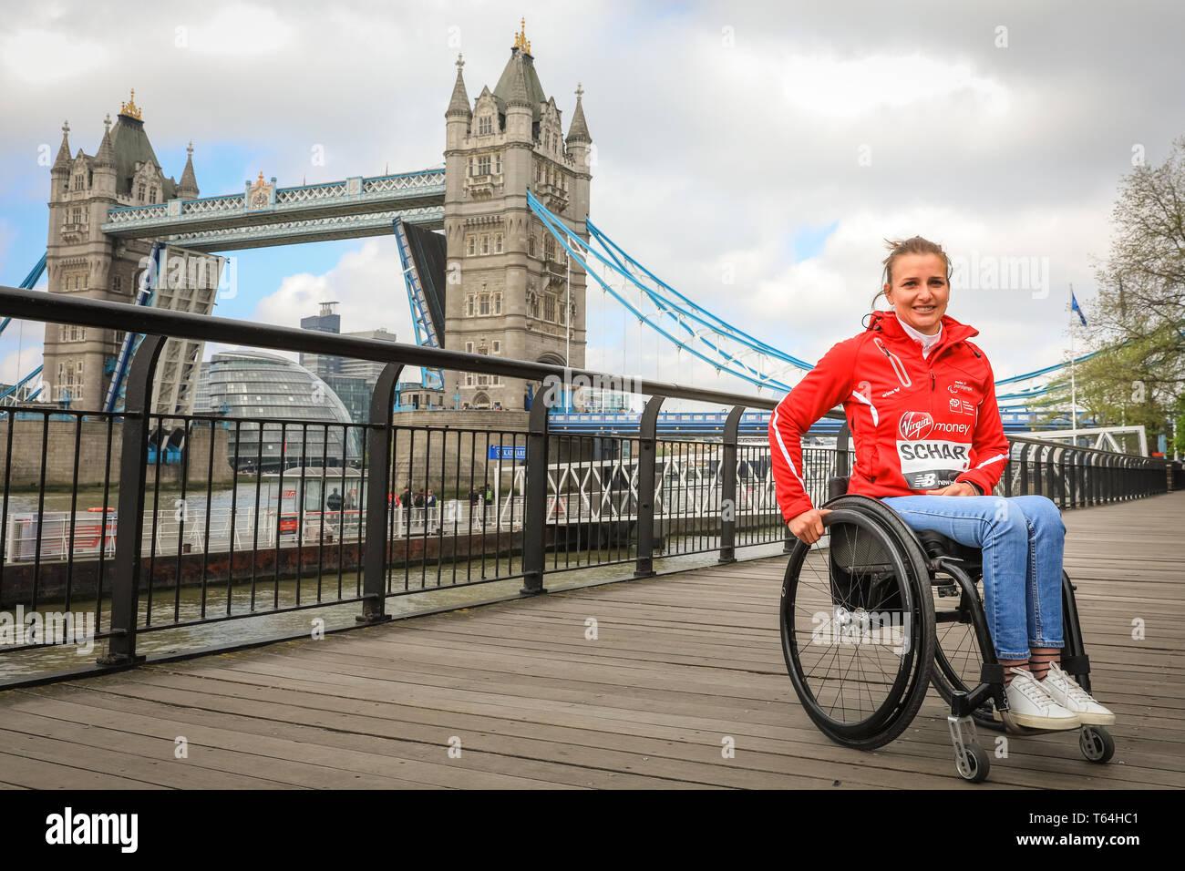 London, UK, 29th April 2019. Switzerland's Manuela Schar won the women's wheelchair race.The Elite Race winners of the 2019 Virgin London Marathon pose for photographers near Tower Bridge in London. Credit: Imageplotter/Alamy Live News Stock Photo